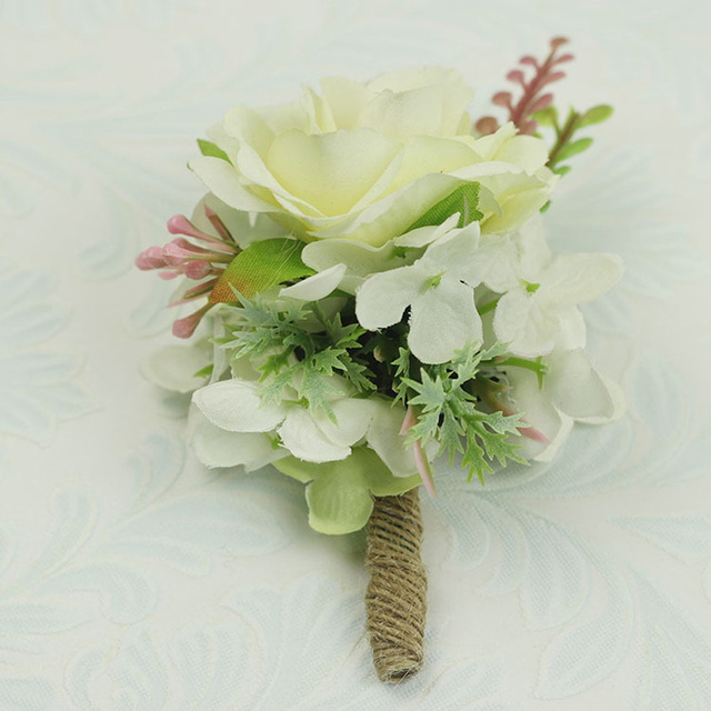 2pcsset artificial ivory wrist corsage flower for bridesmaid 2pcsset artificial ivory wrist corsage flower for bridesmaid wedding boutonniere brooch for groomsmen silk mightylinksfo
