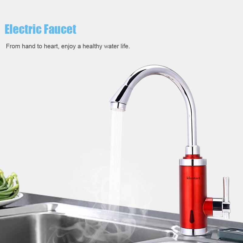 3000W Electric Continuous Water Heater Tap Instant Tankless Water Faucet Kitchen Hot Water Tap Cold Hot Mixing Water Bib Taps in Electric Water Heaters from Home Appliances