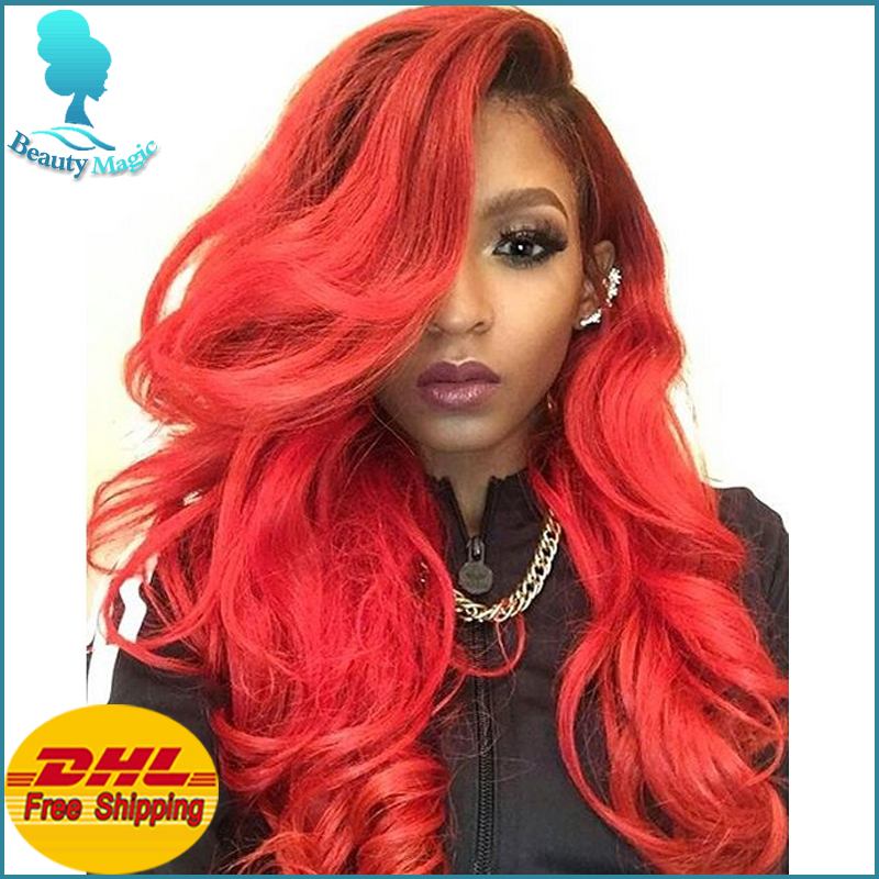 Red Lace Front Wig Ombre Synthetic Lace Front Wig Good Quality Ombre Red  Wigs Dark Roots Heat Resistant Wigs For Black Women 5f6f95a42