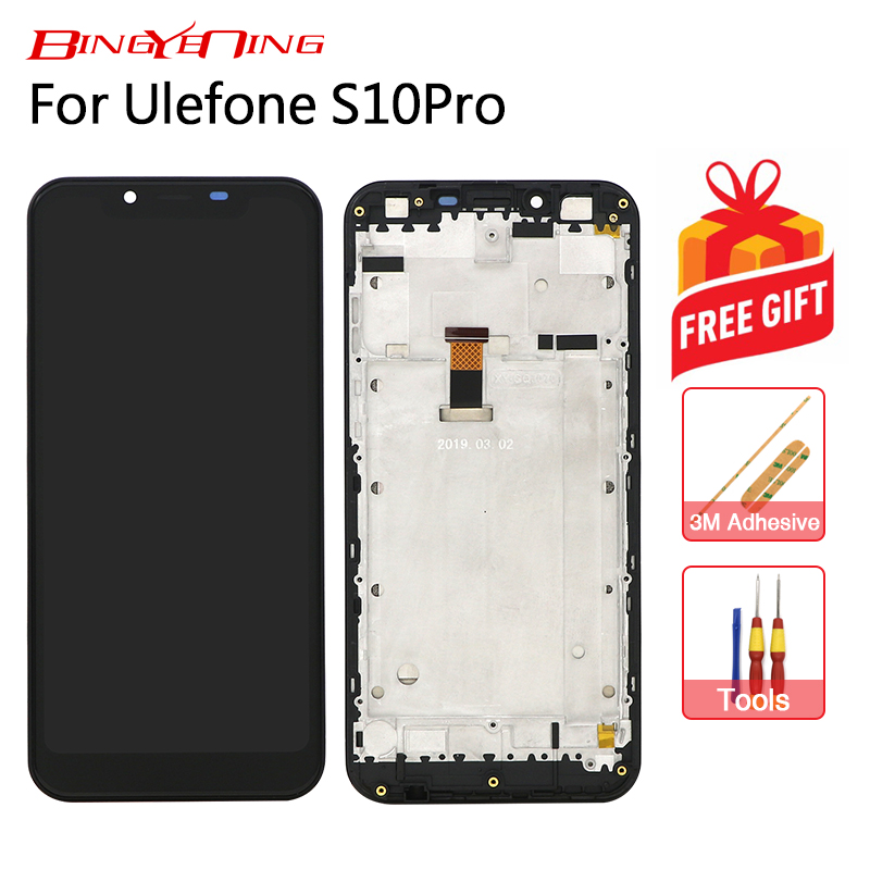 BingYeNing New Original For Ulefone S10 pro Touch Screen LCD Display Frame Assembly Replacement