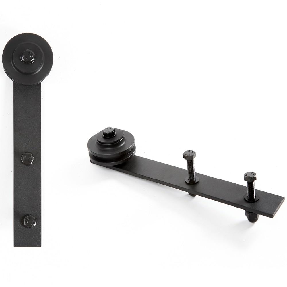 Quincaillerie de porte coulissante noire en acier au carbone 4.9FT/6FT/6.6FT - 3