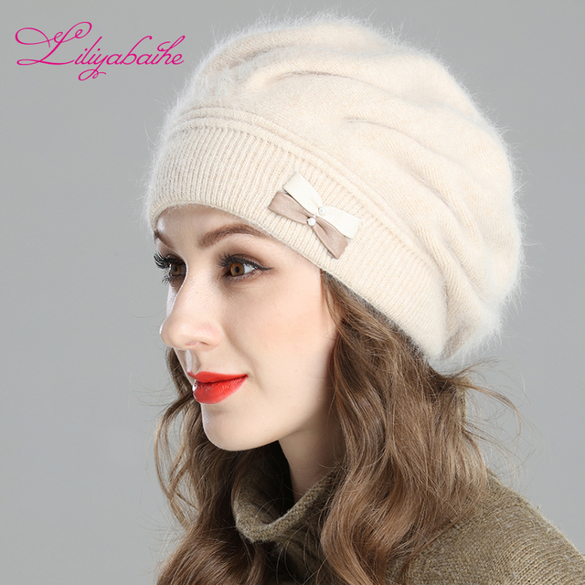 7845cdc22c768 Liliyabaihe New style women s winter beret knitted wool angora beret  Decoration Two-color butterfly double