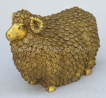 Exquisite Chinese folk culture brass hand-carved sheep statue