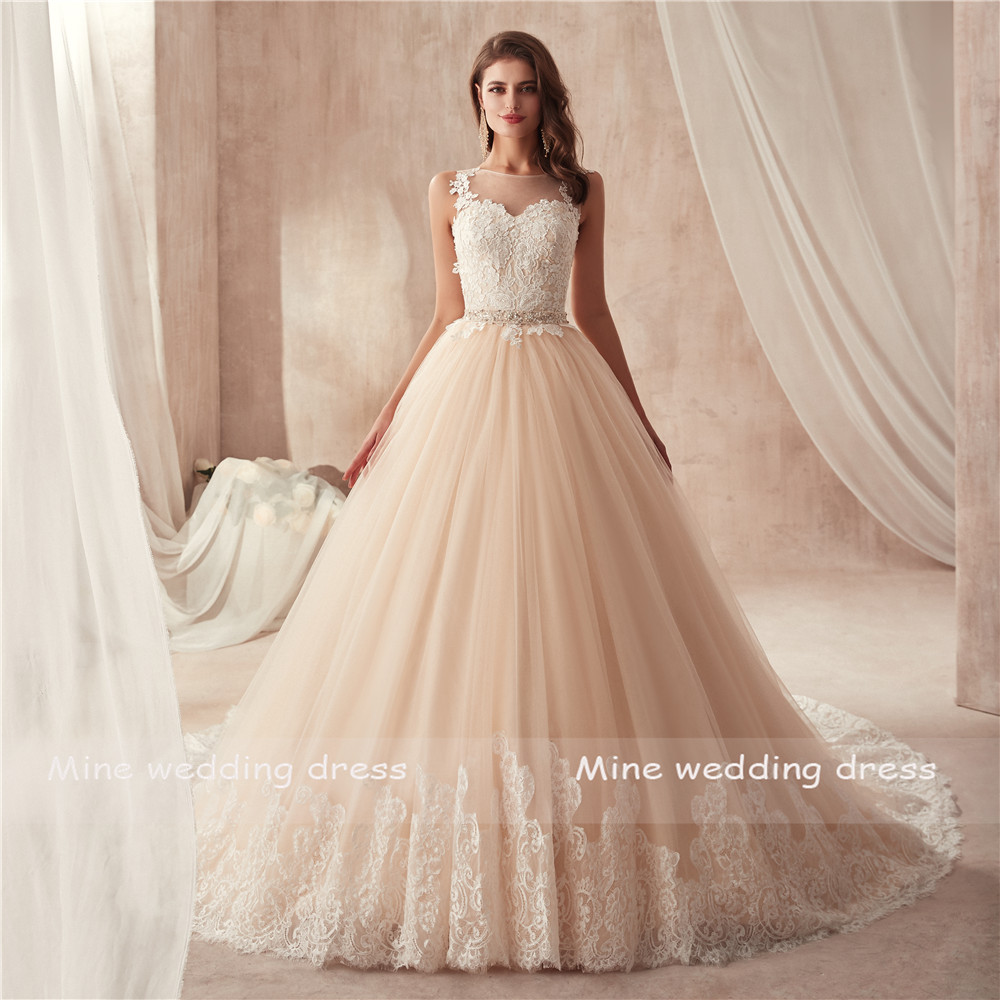 Scoop Neckline Sleeveless Champagne Wedding Dress with Color Beading Belt France Lace Illusion Back Bridal Gown