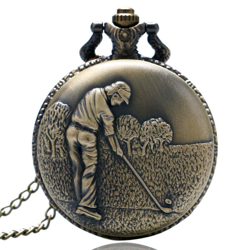 Antique Steampunk Golf Pattern Vintage Copper Elegant Design Quartz Chain Pocket Watch Gift For Women Mens