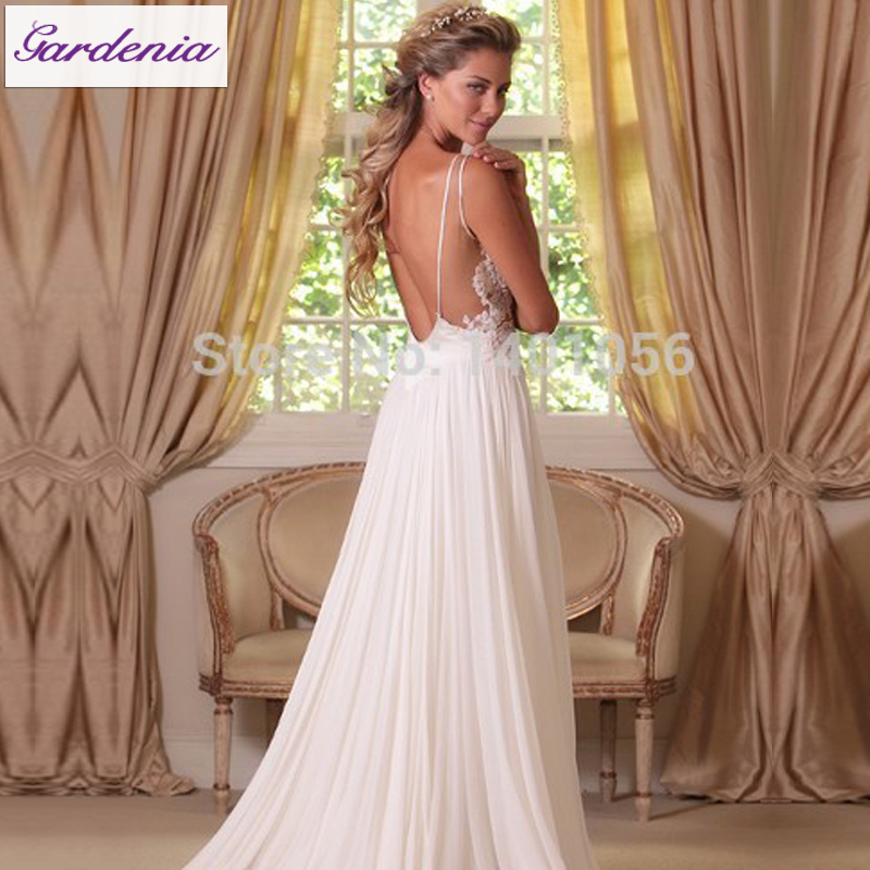 Latest Designer Summer Wedding Dress See Through Bodice Boho Gown Sexy  Backless Bride Dress Beach Wedding Gown Vestido De Noiva In Wedding Dresses  From ...