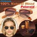 100% Real Natural Handmade Wood Wooden Sunglasses Mens Women Polarized Sunglass Man Men Glasses Woods Frame With Case Box 2015