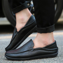 new Fashion Men Flat Shoes leather Comfortable Men Casual Shoes Footwear Chaussures Flats Men Slip On Lazy Shoes Zapatos Hombre недорого