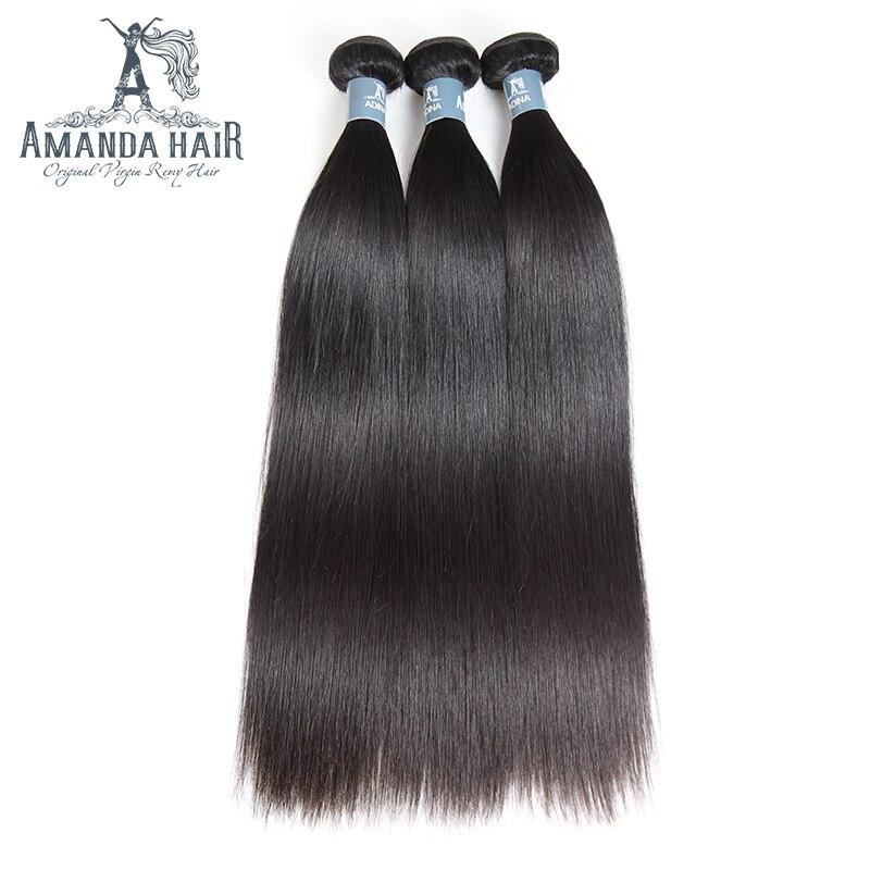 Аманда бразильский виргинский волосы прямые 100 г/Комплект смешивания Длина 100% человеческих волос Weave Комплект s расширение бразильской прям
