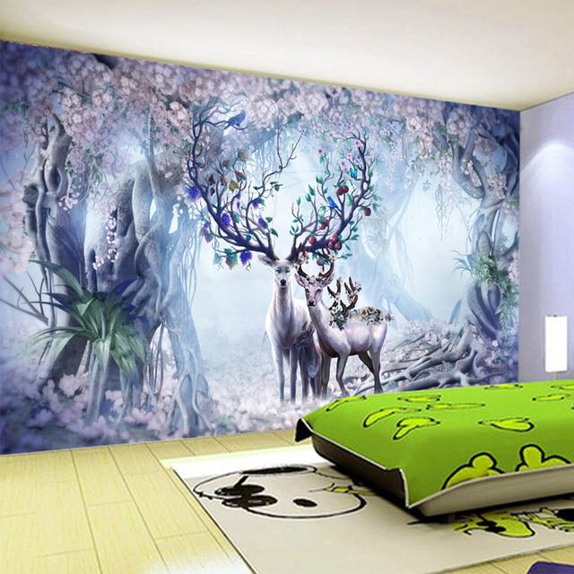US $9.61 45% OFF|3D Tapete 3D Stereo Fantasie Wald Elk Foto Wandmalereien  Kinderzimmer Wohnzimmer TV Sofa Hintergrund Wand Cartoon tapete Rolle in 3D  ...