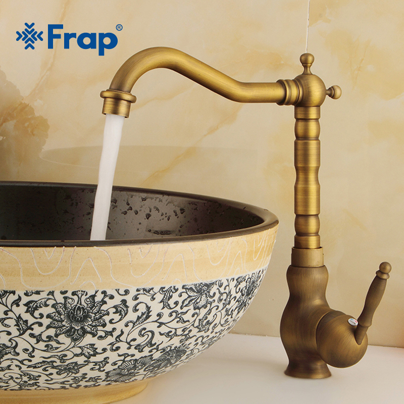 Frap New Basin Faucets Antique Brass Bathroom Faucet Basin Tap Rotate Single Handle Hot and Cold Water Mixer Taps Crane Y10090 luxury new arrival double handle bathroom antique brass faucet basin crane tap hot and cold water tap home wate cock jp10605