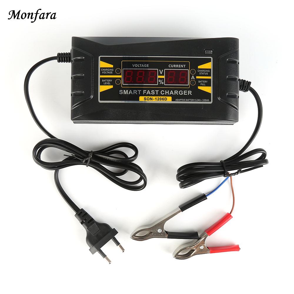 Automatic Smart Battery Charger 12V 6A EU/US Maintainer Desulfator for Lead Acid Batteries Car Battery Charger 110-240V AC input ...