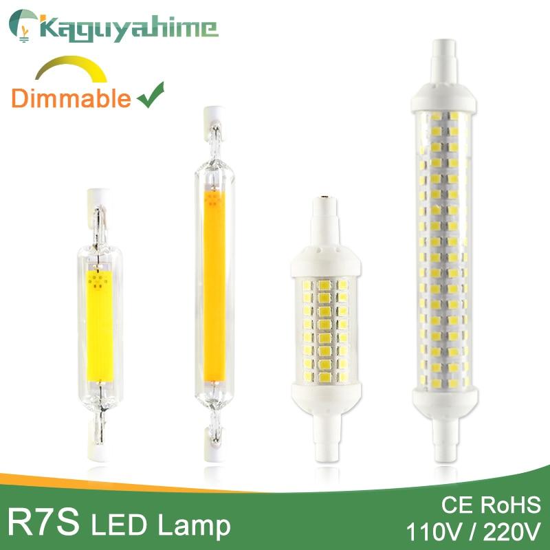Kaguyahime LED R7s COB Lamp 110V 220V 78mm 118mm 135mm Dimmable Lamp Bulb SMD 2835 Replace Halogen Light LED R7S Spotlight Bulb
