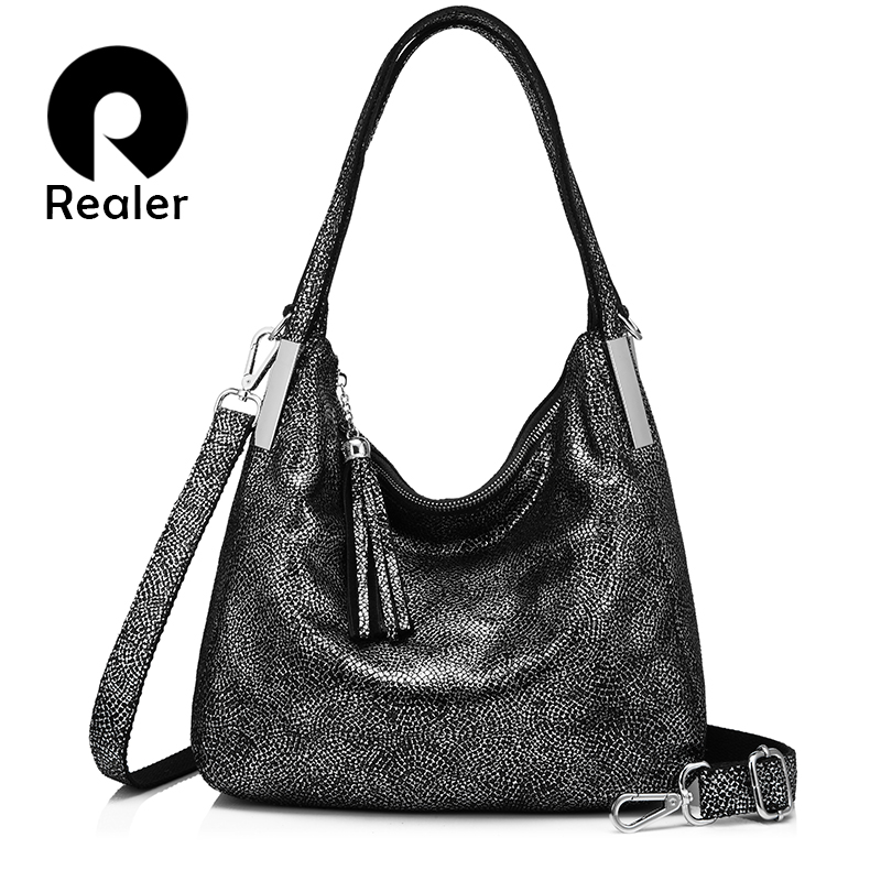 REALER women handbags genuine leather shoulder bag vintage top-handle bags high quality with tassel messenger bag totes female sakura sakura xep 16 16 цветных масляной пастели художественных мягких пастельных костюмы