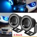 "2pcs 2.5"" Car Angel Eye COB Ice Blue Halo Ring LED DRL Projector Fog Driving Light"