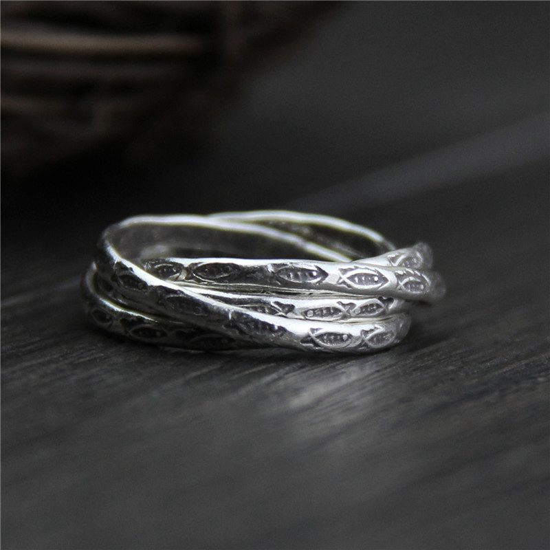 Elegant Multi Layers Twisted Fish Rings Vintage 100% Real 999 Sterling Silver Jewelry For Lady Women Retro Personality Gift handmade stripe pattern exaggerated flower leaves rings wide real pure 999 sterling silver rings for women lady vintage jewelry