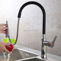 Luxurious Solid 100 Brass Modern Kitchen Sink Mixer Tap Brushed Nickel Chrome Matte Black White Pull