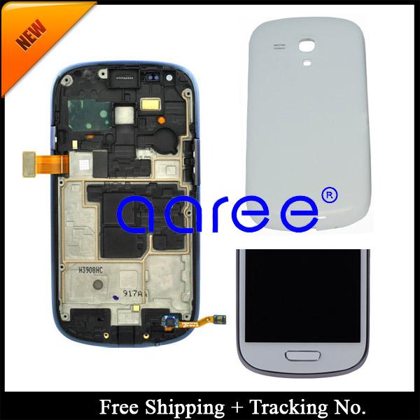 Prix pour 100% testé pour samsung galaxy s3 mini i8190 lcd affichage à l'écran tactile digitizer assemlby cadre couverture arrière