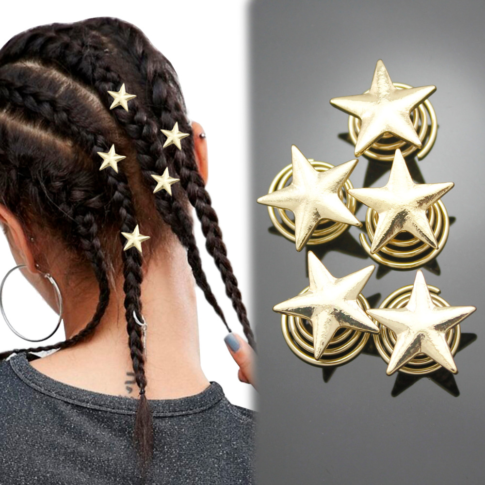 5x Gold Star Spiral Rasta Mambo Beads Dreads Hair Pin Dress Clip Dreadlocks Jewelry Hair Accessories