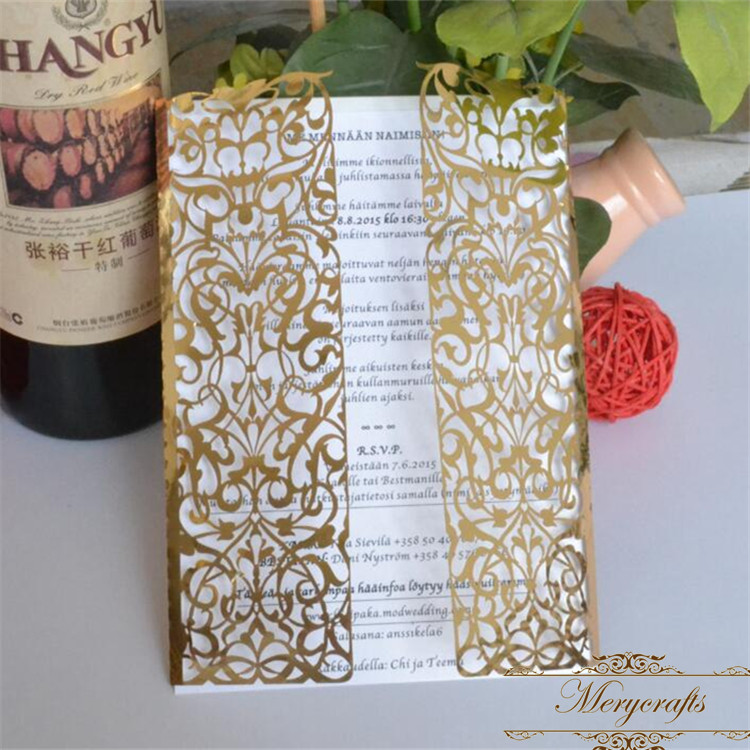 Us 24 0 50pieces Metallic Gold Laser Cut Luxury Gatefold Wedding Invitations In Cards From Home Garden On Aliexpress 11 Double