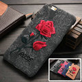 iPhoneCase Chic Rose Embroidery Cover For Coque iPhone 6 s 6s 7 4.7inch Elegant Art Handmade Flower iPhone6 Plus Phone Case