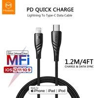 Mcdodo USB-C Быстрая зарядка PD кабель MFi Тип C для Lightning Зарядное устройство для передачи данных кабель-Переходник USB C для iPhone XR XS Max 8 iPad iPod Кабель ISO
