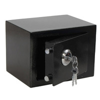 3KGL Professional and Durable Strong Iron Steel Key Operated Security Money Cash Safe Box For Home Office Jewelry Black