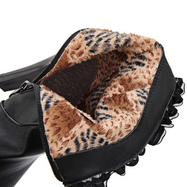 Women High Heel Boots Half Short Boot Warm Winter Mid Calf Fashion Bota Fashion Zip Footwear Heels Shoes Lady Size 31-43