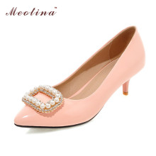 Large Size 34-43 Shoes Women Rhinestone Bridal Shoes Heels Ladies Shoes Beading Party Pumps Patent Leather Heels White Gold Red