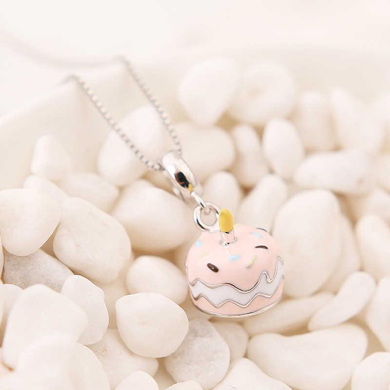 Authentic 100% 925 Sterling Silver Bead Charme Creme Bolo de Aniversário Pingente de Esmalte Encantos Fit Pandora Pulseiras Mulheres Jóias DIY