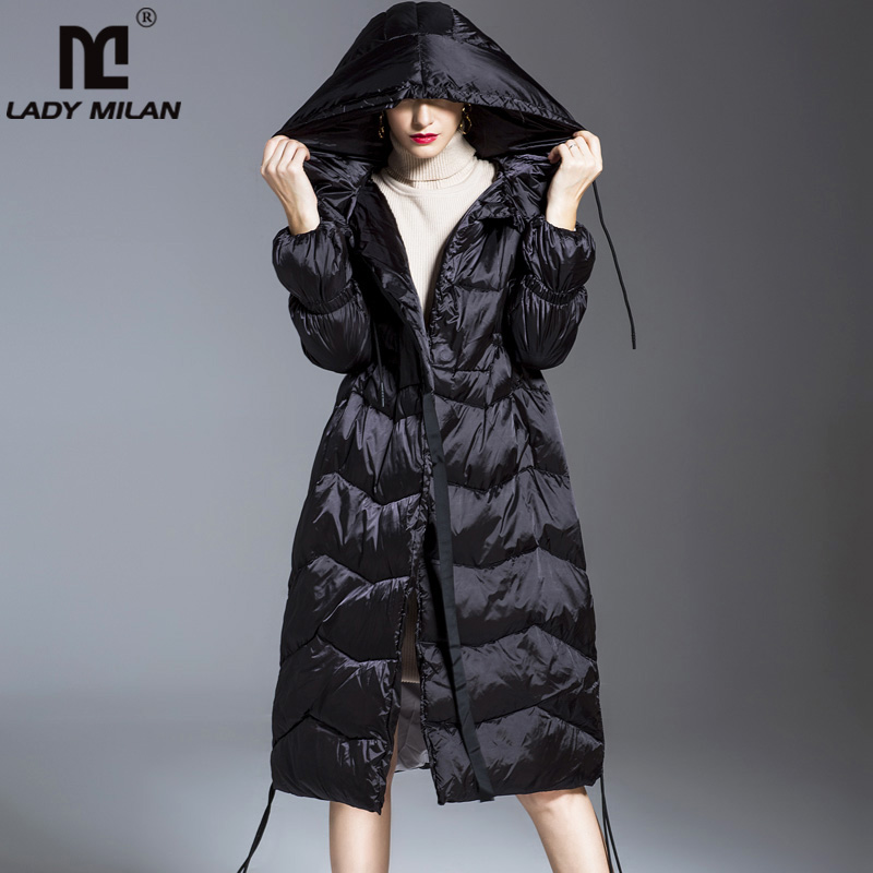 Women's Autumn Winter Runway   Down     Coats   Hooded Collar Long Sleeves Zipper Closure White Duck   Down   Parkas Outerwear