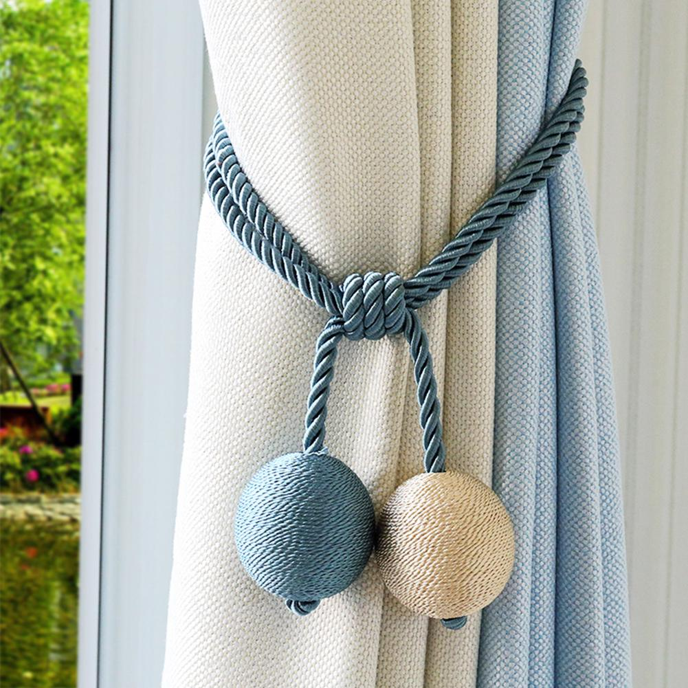 Rope Curtain Us 11 98 20 Off 2 Pcs Hand Made Cotton Rope Curtain Tieback Holdback Tying Rope Hanging Ball Bedroom Home Curtain Holder Tie Backs In Curtain