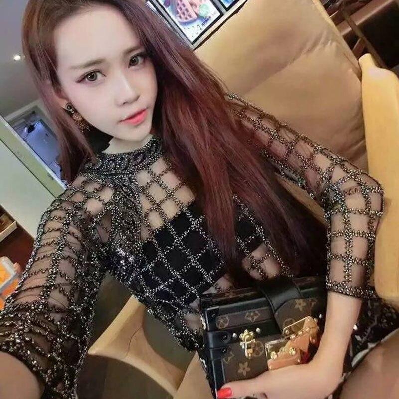 Women s Sheer Blouse Luxurious Beading Sexy Tops Female Blousas Runway  Designer Plaid Black Mesh Blouses Shirts b5710aecdfc7