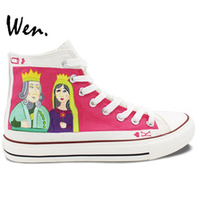 Wen Unisex Hand Painted Shoes Design Custom Poker King Queen High Top Men Women's Canvas Sneakers for Christmas Gifts