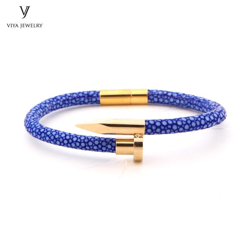 2017 New Charm Leather Nail Bracelet Real Blue Stingray Leather Bracelet Customize Fashion Couple Nail Bracelet alloy anchor rudder leather friendship love couple charm bracelet