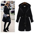 2016 Spring Autumn Winter Woman Black Army Green Hoodie Drawstring Zipper Slim Trench Long Coat Plus Size