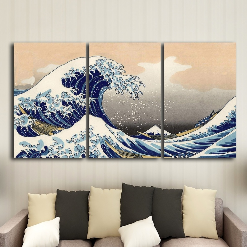 Three Ukiyo Canvas Oil Paintings Classical Style Murals Art High Definition Printed Living Room Decorative Posters
