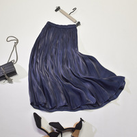 Korean Style Pleated Shirt Skirts Womens New Style Elastic Solid Color High Street Mid Calf Fashion Silky Full Skirts