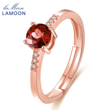 LAMOON 100% 5mm 0.5ct Garnet Red Stone Wedding Rings for Women 925 Sterling Silver Jewelry Elegant Accessories for Party LMRI012