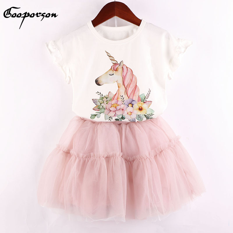 New Brand Girls Clothes Set Flower Unicorn Printed Girls Summer Sets Cotton Shirt And Tutu Skirt 2 Pcs Set For Kids Baby 2016 brand new high quality fashion girls clothing sets bow hoodies flower mini tutu skirt 2pcs autumn spring baby kids clothes
