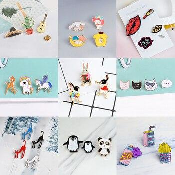 9 sets Cartoon Aminal Enamel Pins Weird cat Cute horse Play Rabbit Brooches for women Lipstick Lip print lapel pin badge Jewelry