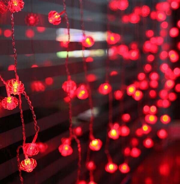 8m 192 leds red lanterns led light string new year festival wedding