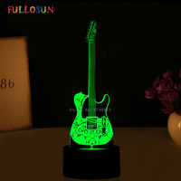 Novelty Gifts 3D Lights Guitar Shape 3D LED Night Lamp 7 Colors USB LED Decorations Lights