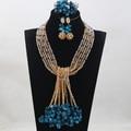 Azul Coral Colgante de Perlas de Boda Africanos Joyería Set Nueva Mezcla de Oro Azul WA489 Beads Nigerianos Joyería Determinada Del Collar Envío Gratis