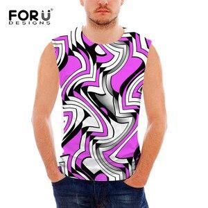 FORUDESIGNS Men Novelty Tank Top Crew Neck Sleeveless Shirt Elastic Stringer Undershirt Male Singlet Colorful Vest Streetwear