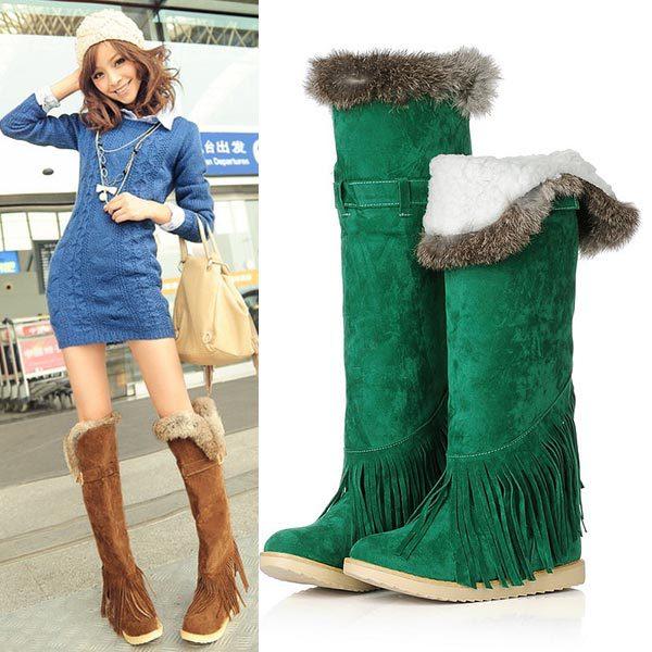 ФОТО New women thick bottom flat heels knee high boots fashion ladies buckle high leg Rabbit fur boots Tassel winter snow long boots