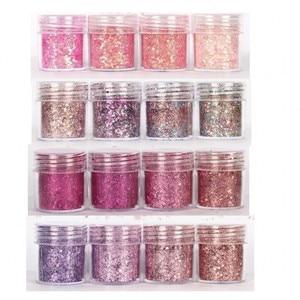 Set of 4 10ml Chunky Pink series Nail Glitter Powder Sequins Powder For Nail Art Decoration Gradient Set ultra-fine Nail Glitter(China)