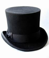 13.5cm (5.3inch)lack Wool Steampunk Hat For Men Mad Hatter Top Hat Victorian Traditional Fedoras Hat Sam Beaver Hat