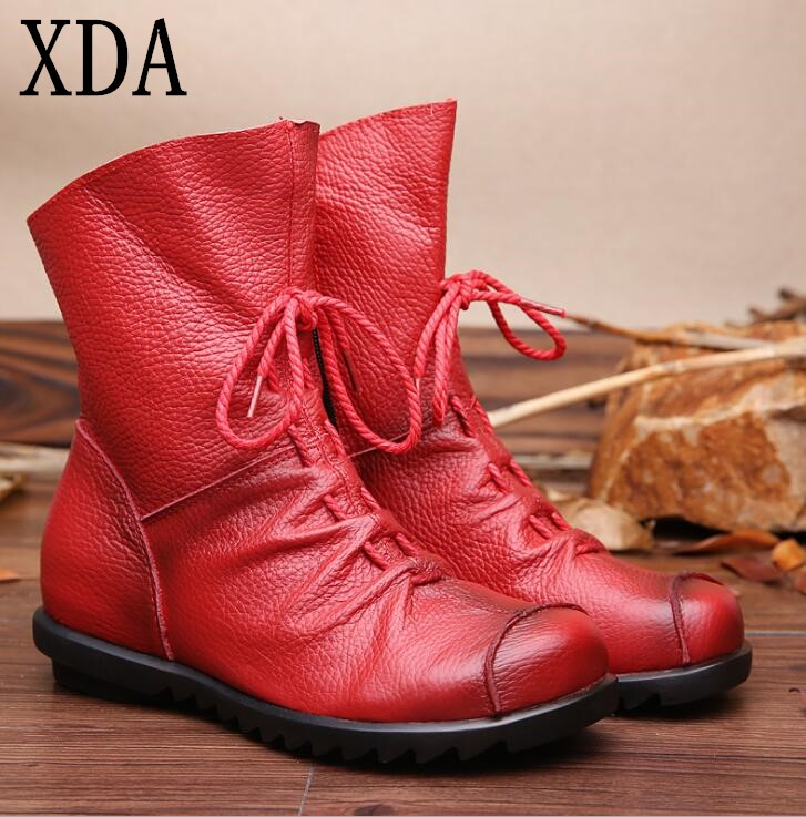 XDA NEW Vintage Style Genuine Leather Women Boots Flats Booties Soft Cowhide Women's Shoes Front Zip Ankle Boots 2017 genuine leather women ranger boots famous designer motorcycle fashion work brand shoes zip front design ankle short booties