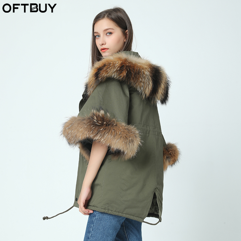 2019 new winter jacket coat women   parka   autumn winter Raccoon big fur collar hooded ArmyGreen Casual Flare Sleeve cloak coat
